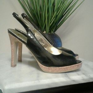 Women's Black Sling Back Heels with Cork Heel
